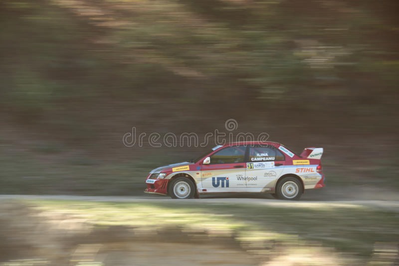 Smooth pan of a rally car stock photos