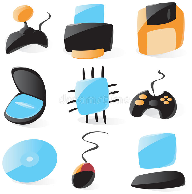 Smooth pc hardware icons. Set of smooth and glossy pc hardware icons. Vector illustration stock illustration
