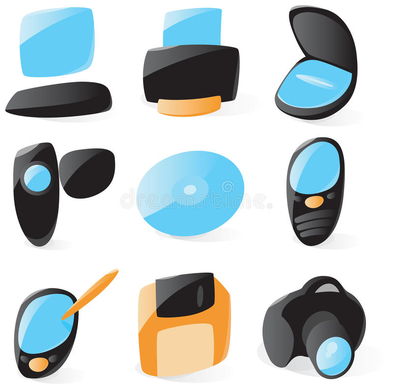 Smooth pc peripherals icons. Set of smooth and glossy pc peripherals icons. Vector illustration stock illustration