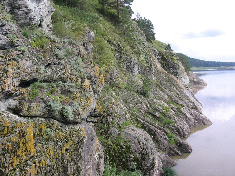 Smooth rocks rock in Siberia grass-covered moss vegetation. On the banks of the river royalty free stock photo