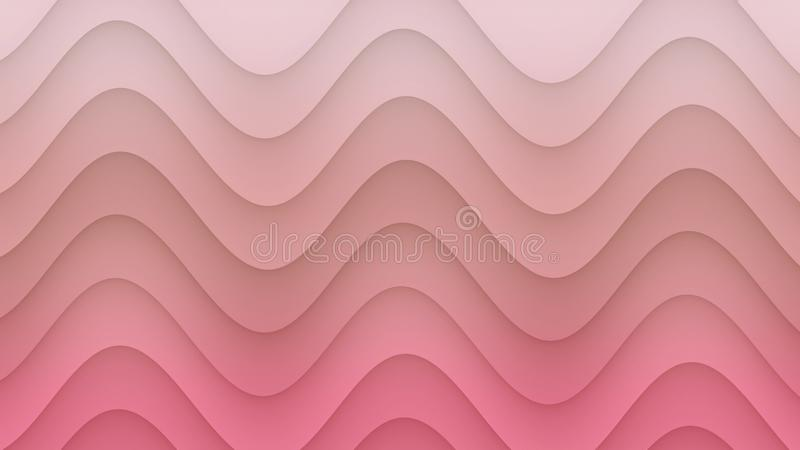 Smooth rolling curves abstract background illustration in gradient shades of blush pink royalty free illustration