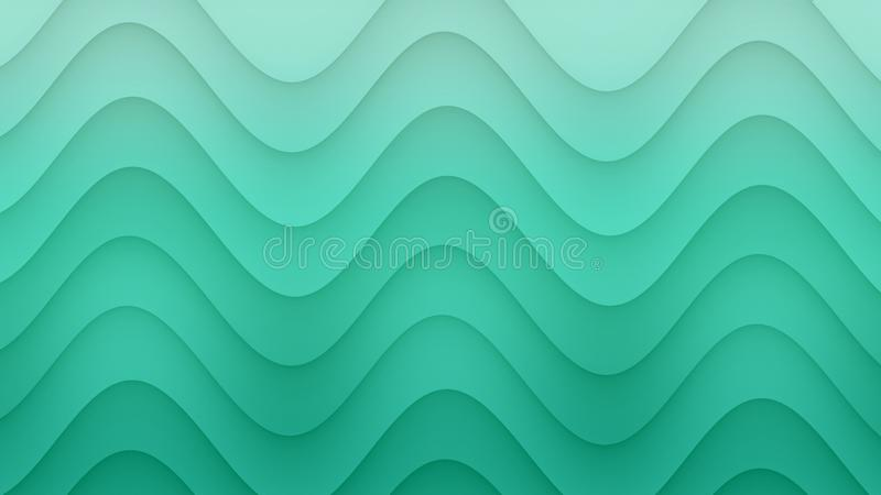 Smooth rolling curves abstract background illustration in gradient shades of fresh aqua blue green stock illustration