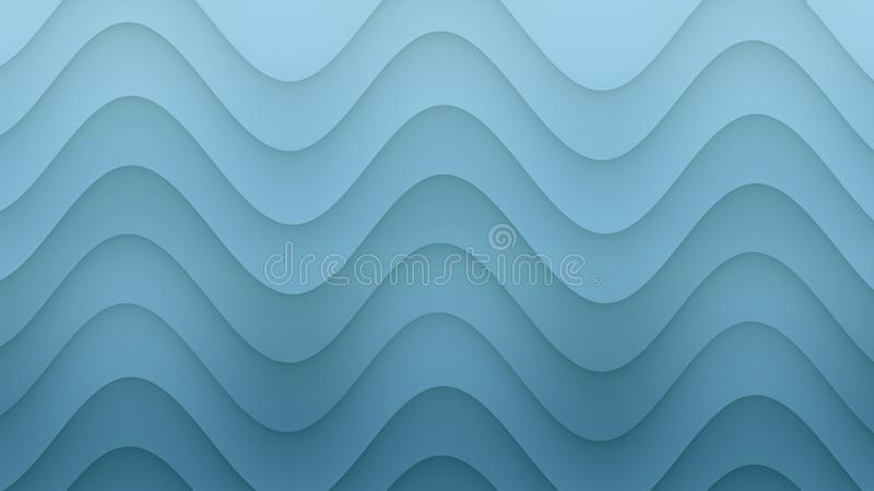 Smooth rolling curves abstract background illustration in gradient shades of sky blue vector illustration