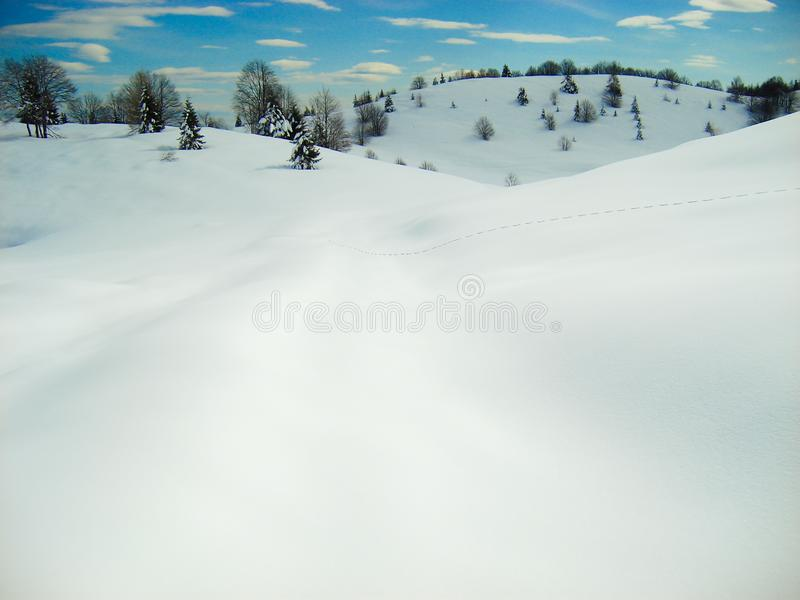 Smooth rolling snow hills with single trail of foot prints. Smooth soft blanket of snow with single line of foot steps over rolling hills with blue puffy cloud stock image