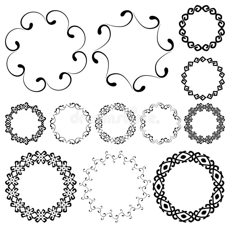 Smooth swirly round frames in mega pack royalty free illustration