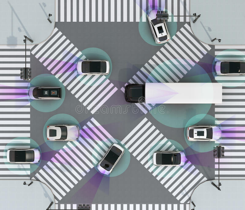Smooth traffic in crossroad. Concept for advantage autonomous technology. 3D rendering image royalty free illustration