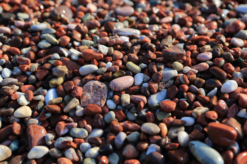 Smooth wet multi-colored sea stones stock photo