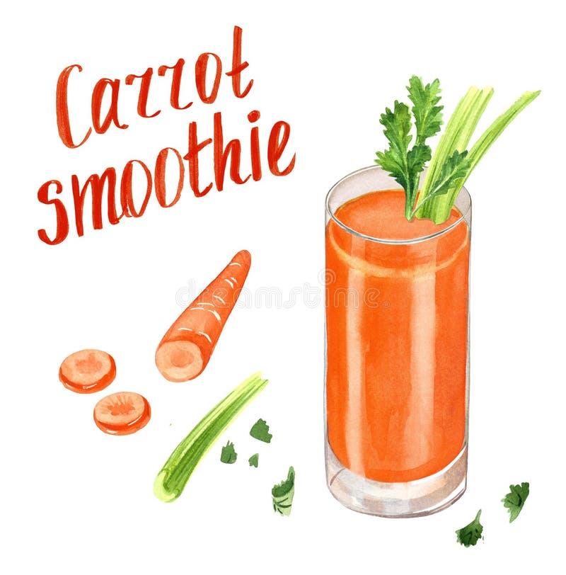 Smoothie моркови оранжевый с сельдереем стоковая фотография
