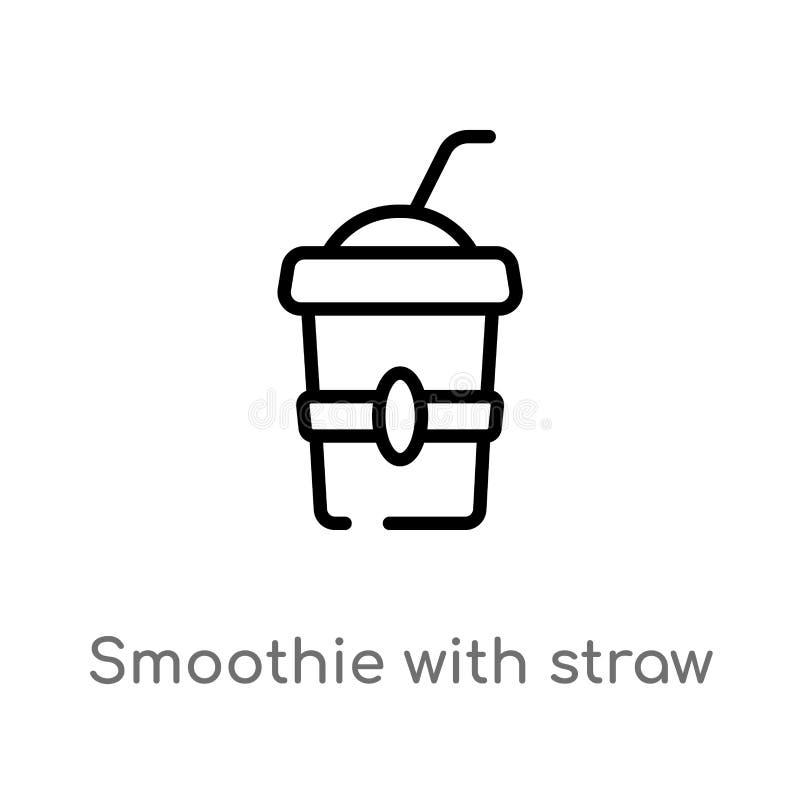smoothie плана со значком вектора соломы изолированная черная простая линия иллюстрация элемента от концепции кино Editable векто иллюстрация штока