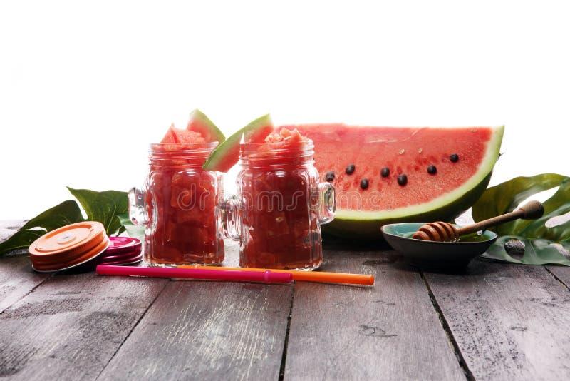 Smoothie appétissant frais savoureux de boissons de pastèque Dri de pastèque image stock