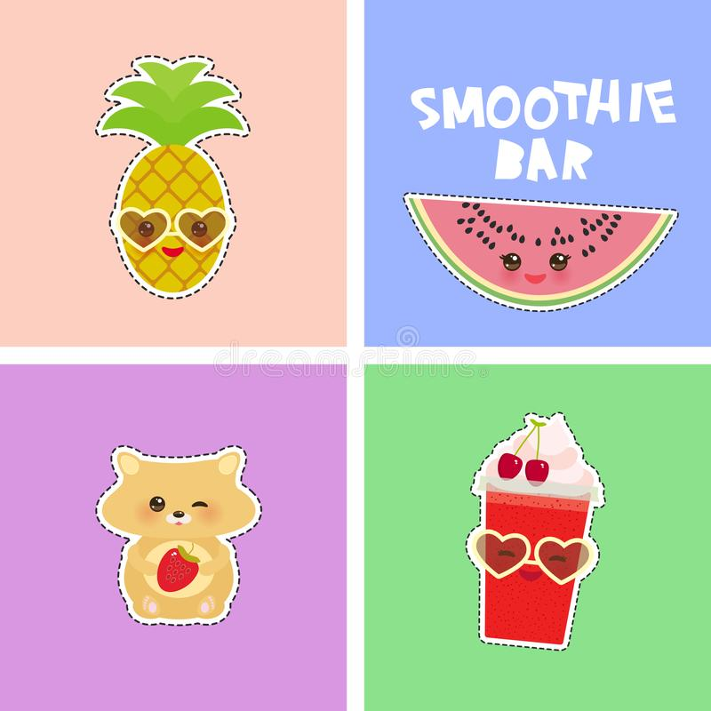 Smoothie Bar bright tropical card design, fashion patches badges stickers. watermelon, hamster, pineapple, cherry smoothie cup, vector illustration