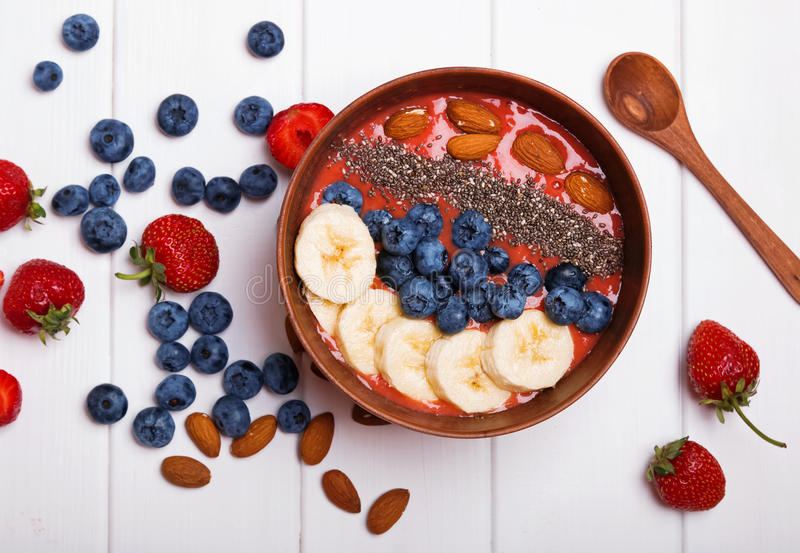 Smoothie bowl with berries and chia seeds stock photos