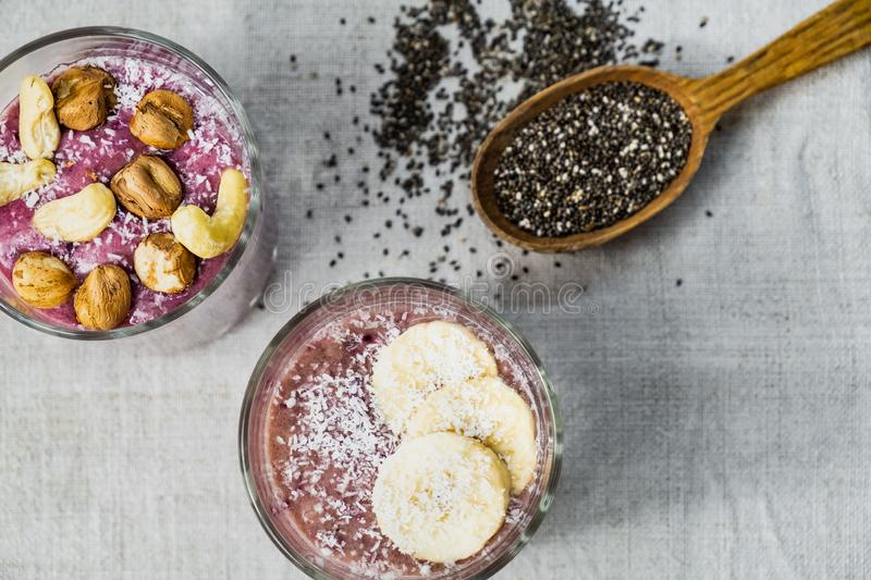 Smoothie bowl breakfast, shot from above. royalty free stock photos