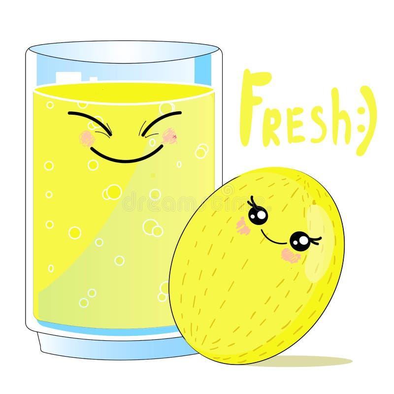Smoothie charakteru kreskówki wektorowa ilustracja, karta z kawaii jedzeniem - cukierki TOPI I świeży sok jagody na i ilustracja wektor