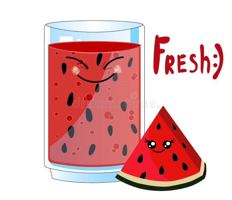 Smoothie charakteru kreskówki wektorowy illustrationCard z kawaii jedzeniem - słodki truskawkowy świeży sok i jagoda na szkle ?mi royalty ilustracja