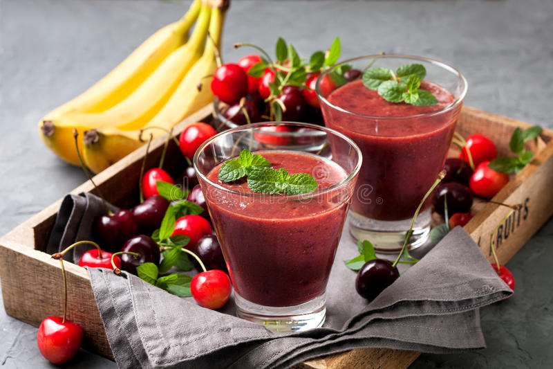 Download Smoothie With Cherry And Banana Stock Photo - Image: 83703134