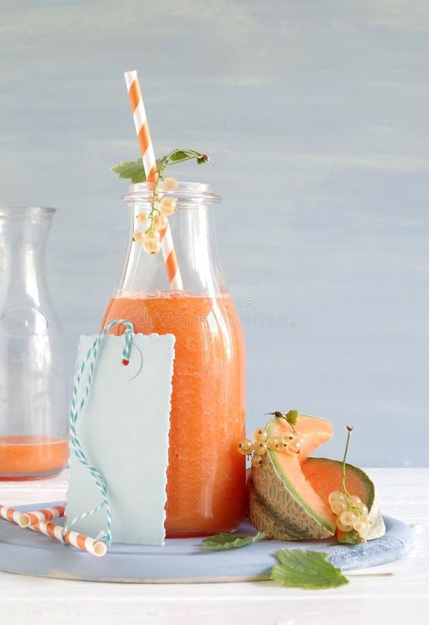 Smoothie con el melón del cantalupo y las pasas blancas imagen de archivo libre de regalías