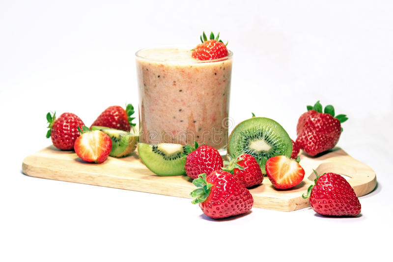 Smoothie da morango e do quivi fotografia de stock