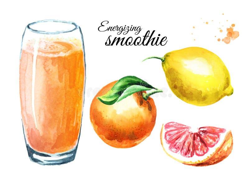 Smoothie de activación con el sistema de la naranja, del pomelo y del limón Ejemplo dibujado mano de la acuarela, aislado en el f imagenes de archivo