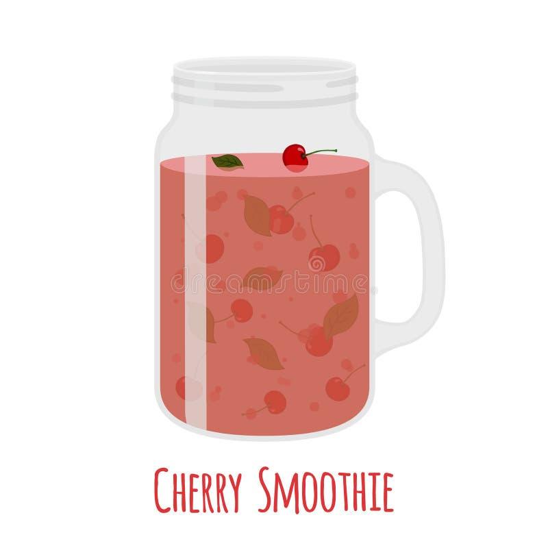 Smoothie de cerise dans le pot de maçon Verre avec la boisson végétarienne de detox illustration stock