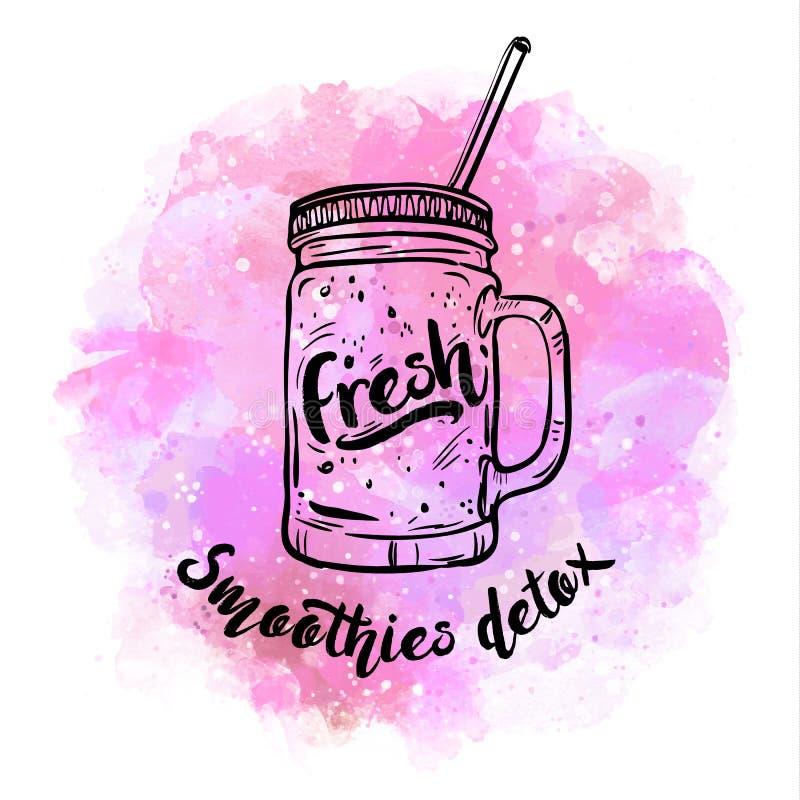 Smoothie de Detox, cocktails sains d'été, verre avec du jus pour le detox et mode de vie sain Illustration de vecteur, conception illustration stock
