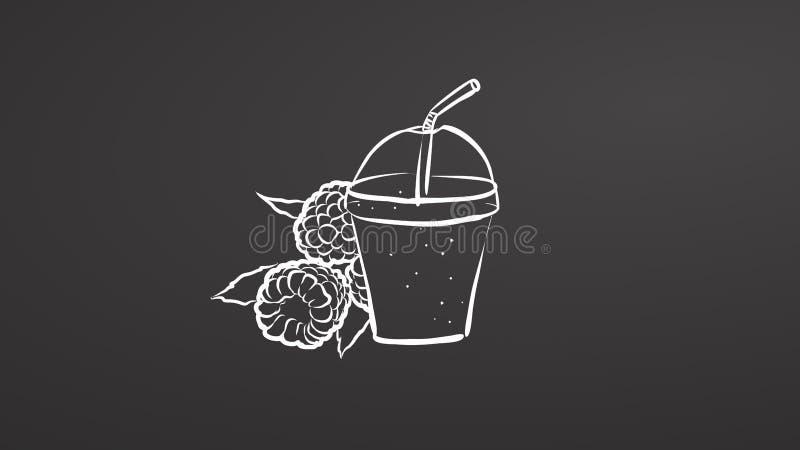 Smoothie de framboise Craie sur le tableau illustration de vecteur