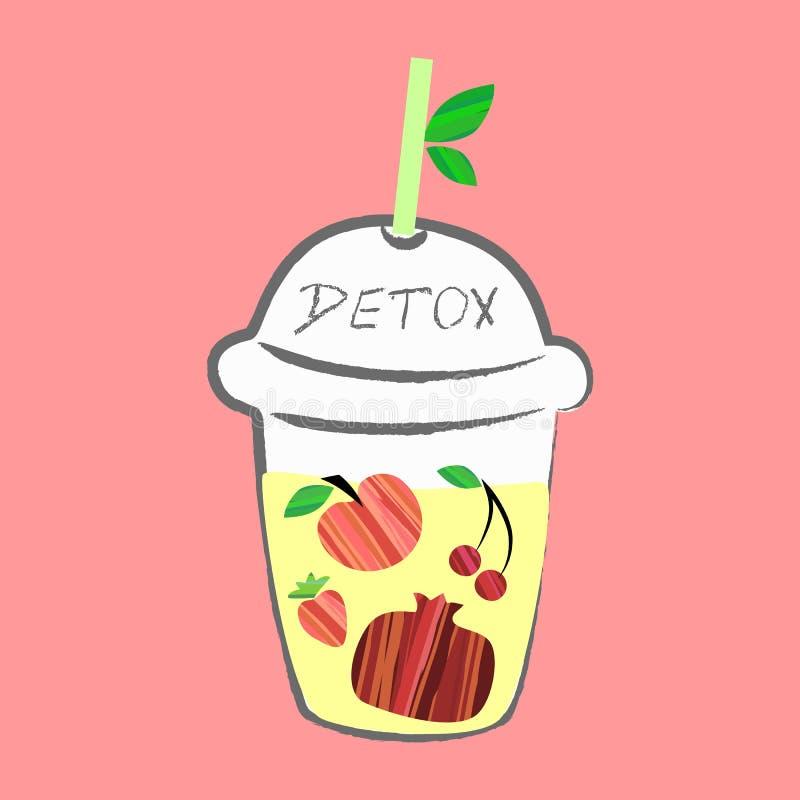 Smoothie de fruits frais, cartes colorées de l'eau de Detox avec différents fruits illustration stock
