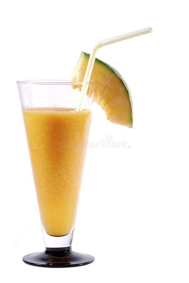 Smoothie de gingembre de melons avec le portrait de paille à boire images libres de droits