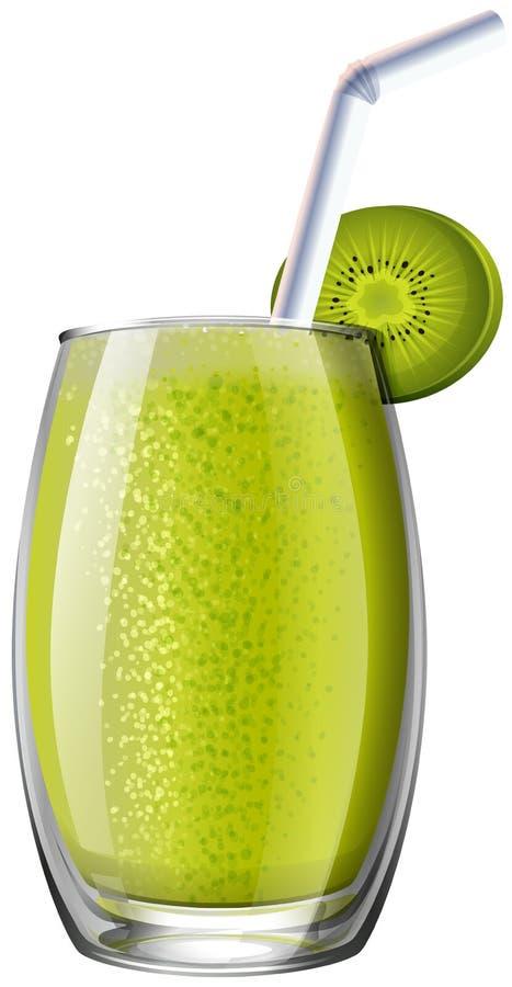 Smoothie de kiwi en verre illustration de vecteur