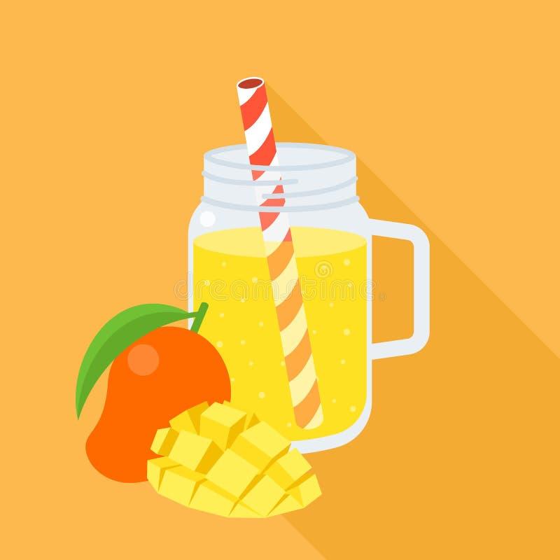Smoothie del mango en tarro de albañil libre illustration