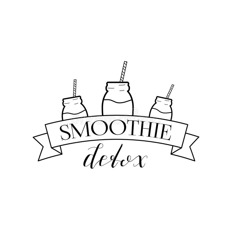 Smoothie Detox Logo Isolated. On White Background. Black Badge with Hand Drawn Lettering, Ribbon and Jar. Vector Illustration for Web Design or Print stock illustration