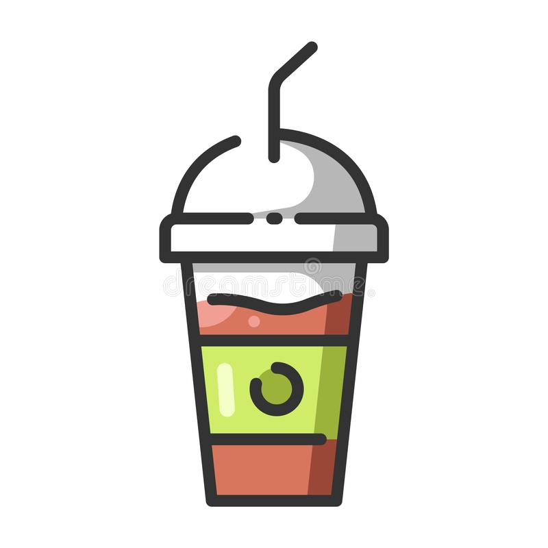 Smoothie drink. Illustration outline color. isolated on white background vector illustration