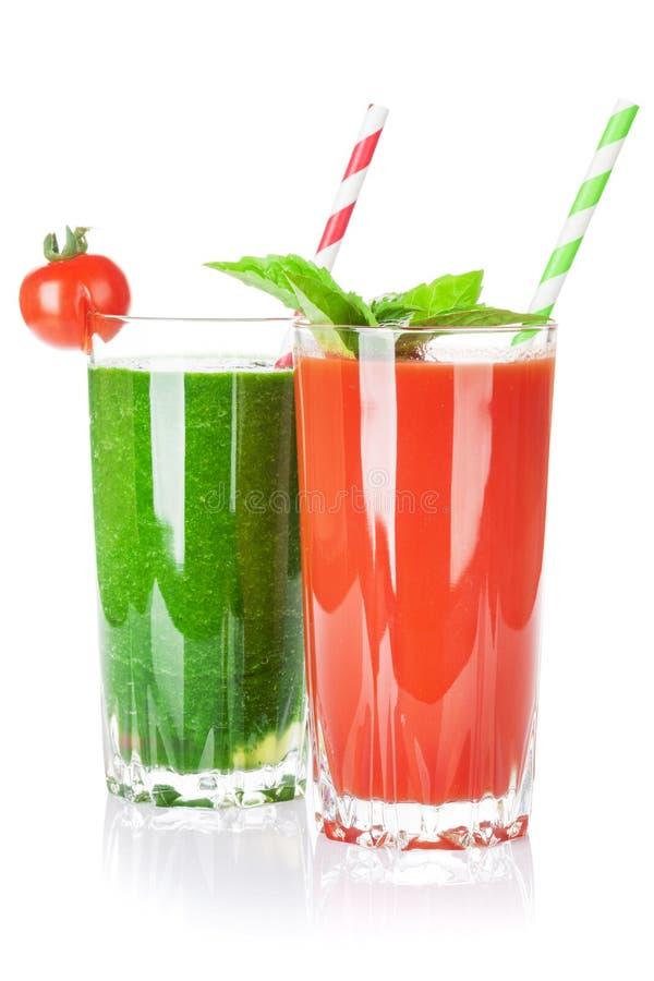 Smoothie för ny grönsak Tomat och gurka royaltyfri bild