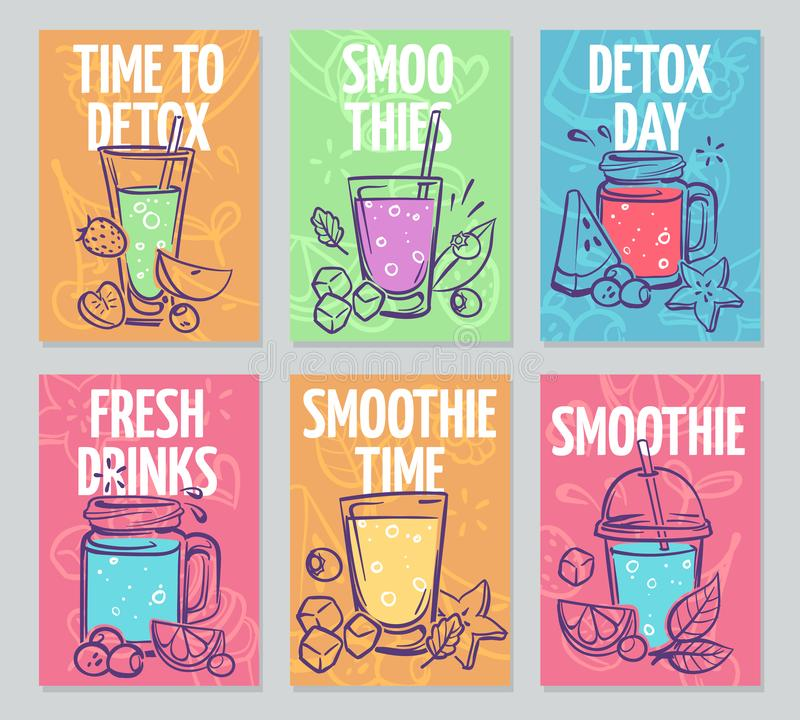 Smoothie flyers. Colorful smoothies poster, fresh cocktails, detox drinks healthy life vegan organic food banners vector stock illustration