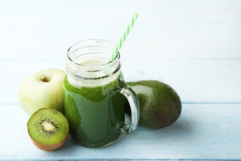 Smoothie in glass jar royalty free stock photo