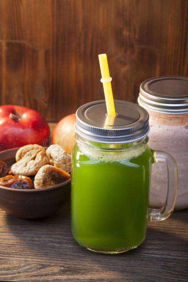 Download Smoothie In Glass Jar On Rustik Wood. Green Healthy Beverage And Stock Image - Image of green, health: 114727083
