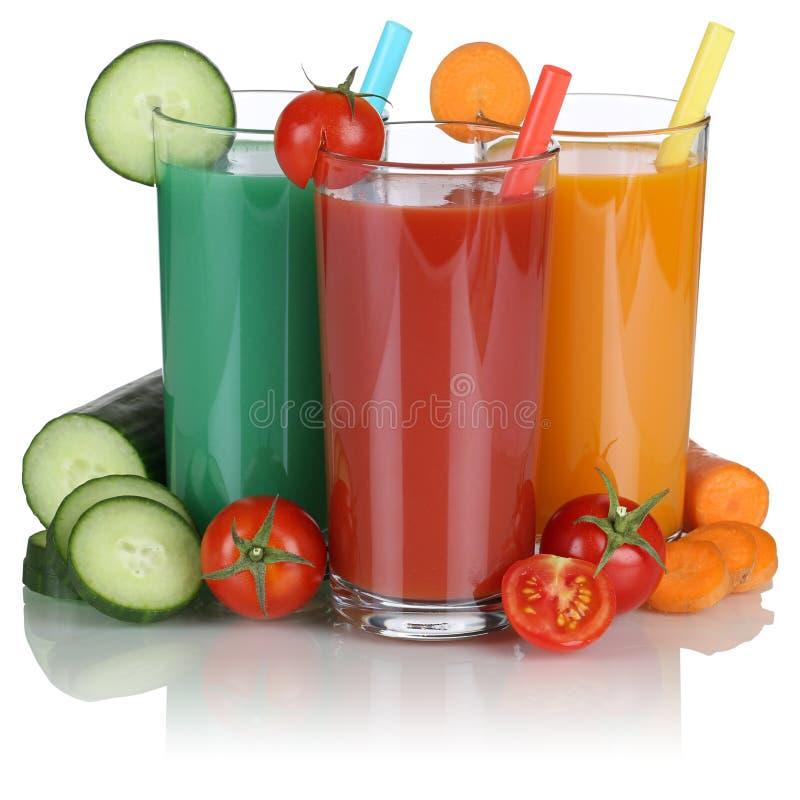 Smoothie groentesap met geïsoleerde groenten stock afbeeldingen