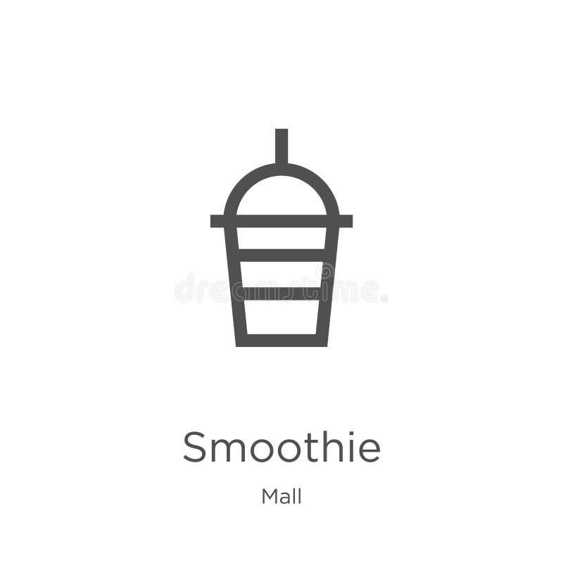 smoothie ikony wektor od centrum handlowe kolekcji Cienka kreskowa smoothie konturu ikony wektoru ilustracja Kontur, cienieje kre royalty ilustracja