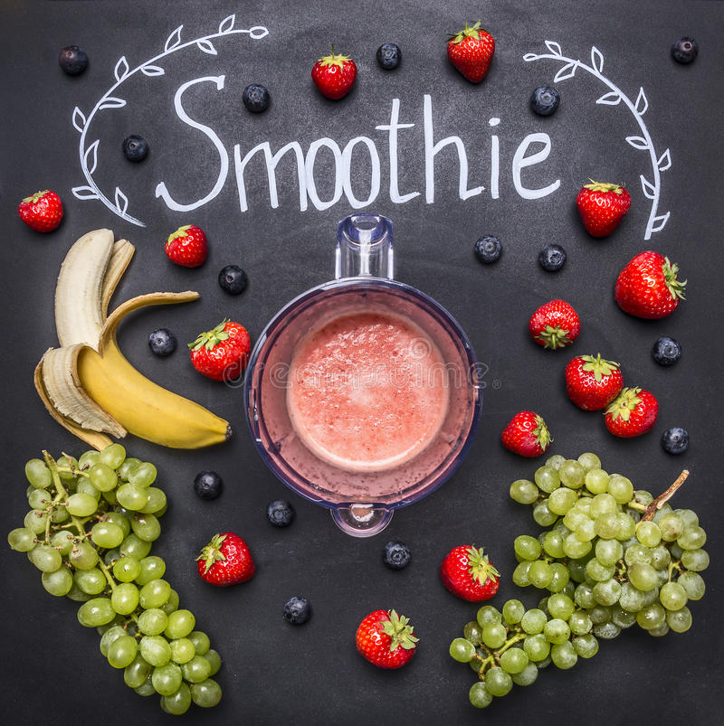 Smoothie ingredients on white wooden background, top view, border. Superfoods and health detox diet food concept strawberries,. Smoothie ingredients on white stock photos