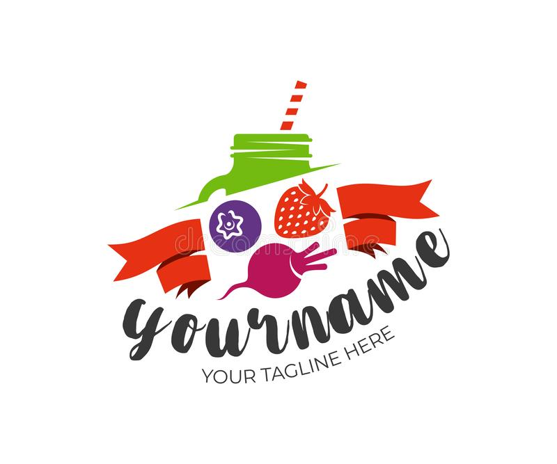 Smoothie, jugos, albañil del tarro, fresas, arándanos y remolachas con las cintas, diseño del logotipo Comida natural y orgánica, ilustración del vector