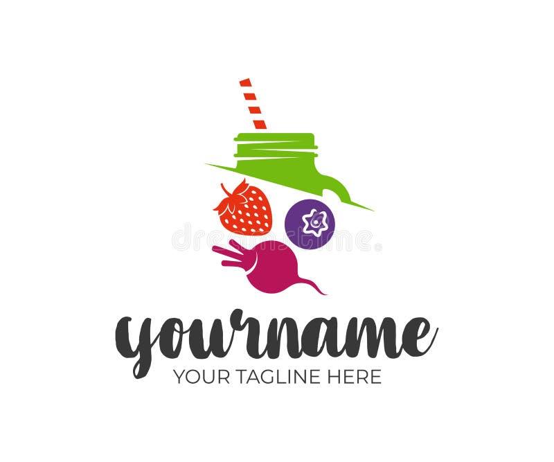 Smoothie, jugos, albañil del tarro, fresas, arándanos y remolachas, diseño del logotipo Bebida natural y orgánica, de la energía  libre illustration
