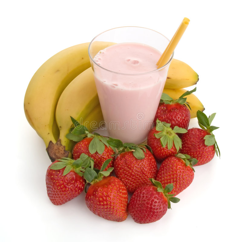 Smoothie made with strawberries and bananas. Isolated on white background royalty free stock photos