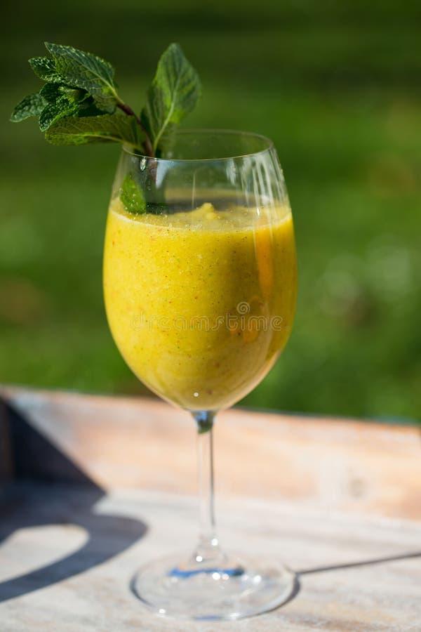 Smoothie met selderie en sinaasappel, meloen, munt, in de tuin stock fotografie