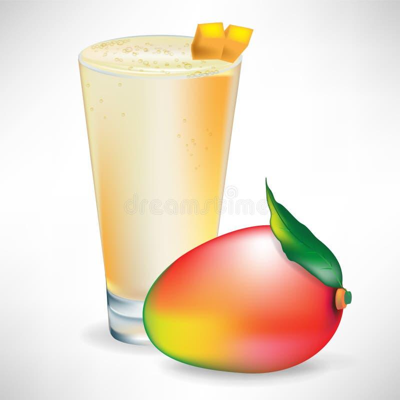 Smoothie mit frischer einzelner Mangofruchtfrucht lizenzfreie abbildung