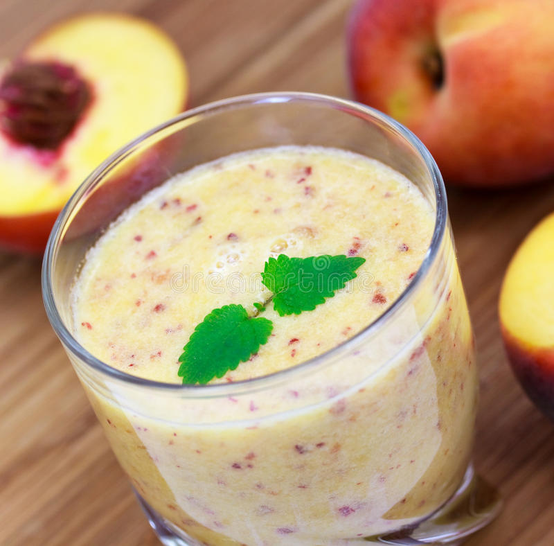 Smoothie of peach , close up royalty free stock photo