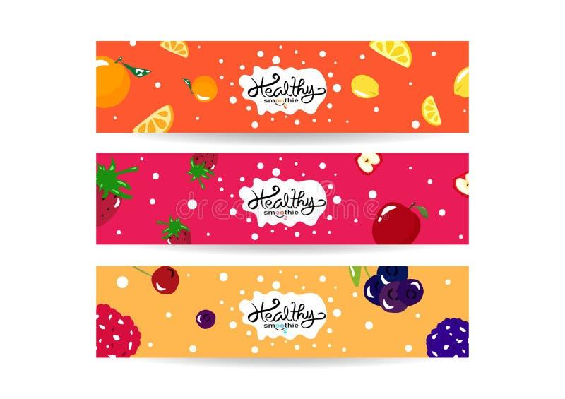 Smoothie sain éclaboussant, ensemble de menu de régime d'équilibre d'étiquette de collection de bannière, vecteur juteux coloré d illustration stock