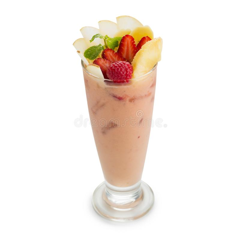 Smoothie with strawberries, apple and bananas isolated on white. Back ground royalty free stock photography