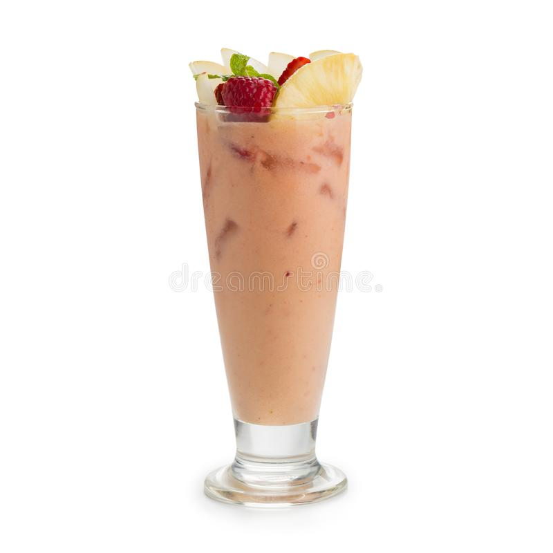 Smoothie with strawberries, apple and bananas isolated on white. Back ground royalty free stock image