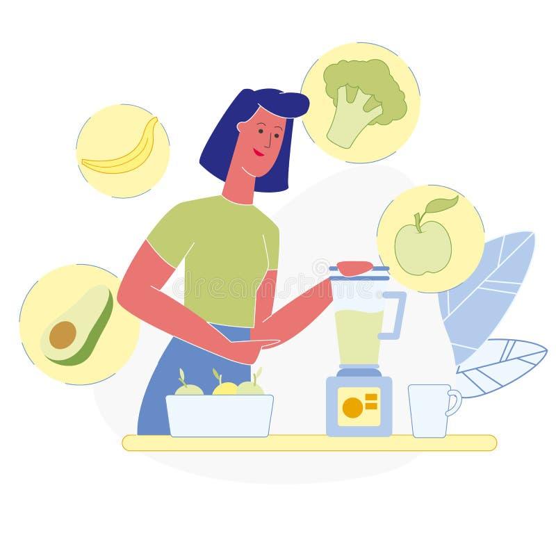 Smoothie végétarien faisant l'illustration de vecteur illustration libre de droits