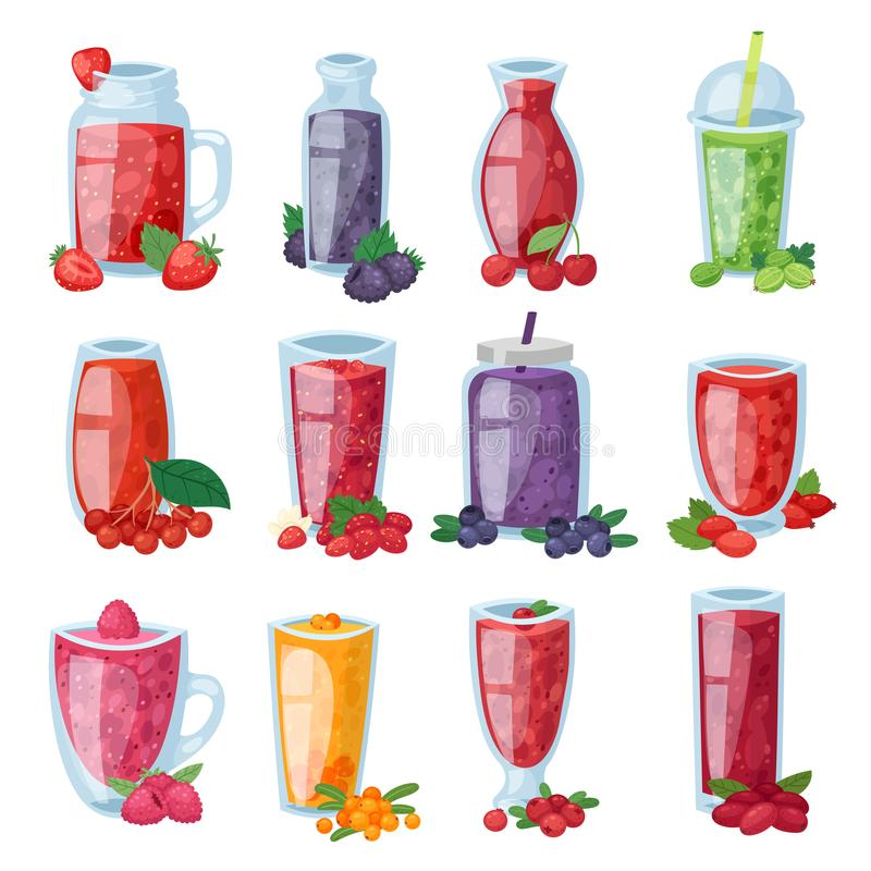 Smoothie vector healthy berry drink in glass or fresh beverage mix of strawberry blueberry and raspberry illustration stock illustration